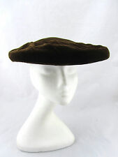 LAZARUS Vintage 40's Brown Velvet Saucer Wide Fascinator Hat Paris