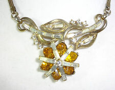 CROWN TRIFARI ALFRED PHILIPPE 1952 PAT PEND (166.345) Amber Rhinestone Necklace