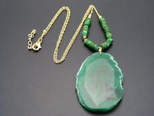 $58 Panacea Large Green Agate Natural Stone Beaded Pendant Necklace Goldtone