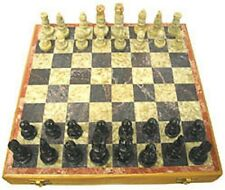 """Soapstone Chess Set 8x8"""" Individually Hand-Carved Pieces By Artisans In India"""