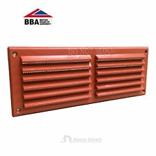 "9"" x 3"" Terracotta Plastic Louvre Air Vent Grille with Removable Flyscreen Cover"
