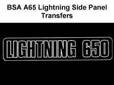 BSA A65 LIGHTNING WHITE SIDE PANEL TRANSFERS DECALS SOLD AS A PAIR