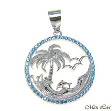 925 Silver Rhodium Genuine Blue Topaz Hawaiian Palm Tree Dolphin Wave Pendant