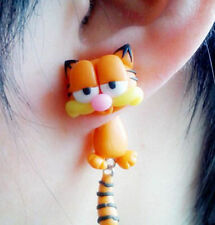 cartoon colour cat tabby stud earring resin polymer statement gift xmas orange