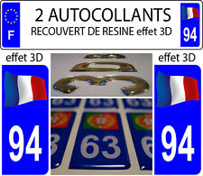2 stickers plaque immatriculation auto DOMING 3D RESINE FRANCE FLOTANT DEPA 94