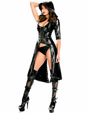 Sexy Black Faux Latex Look Coat with Hood Lace Up Back and Front One Sleeve