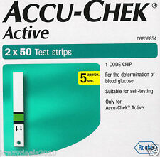 100 Test Strips for Glucometer Accu-Chek Active - Expiry APRIL 2017 Accuchek