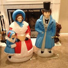 Vintage Empire Dickens Carolers Woman Man Girl Blow Mold With Light Cords