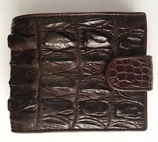 100% Genuine crocodile alligator skin leather bifold men  brown wallet