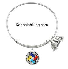 Wind & Fire Autism Puzzle Piece Enamel Charm Silver Bangle Bracelet Made In USA