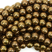 "10mm copper hematite round beads 15.5"" strand"