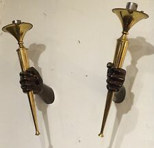 SCONES PAIR OF TORCHES HANDS BRASS, JANSEN, 1960 APPILQUES TORCHES MAINS JANSEN