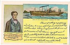 JOHN FITCH Inventor of the Steamboat Handwriting Sample Vintage Postcard
