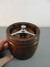BARREL SHAPED TEA CADDY OAK WOOD STORAGE CONTAINER CANISTER MID-CENTURY MODERN