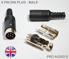 2x Standard 6 PIN DIN Male Plugs For Audio / Line In Connector (2 Pcs) - UK POST