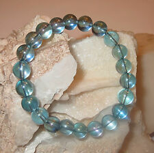 BEAUTIFUL AQUA AURA QUARTZ 24 CT GOLD TREATED 8MM ROUND CRYSTAL BRACELET