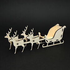 Freestanding Wooden Christmas Santa Sleigh Craft Kit - Four Reindeer Flat Packed