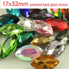 15 32x17mm mixed crystal glass big navette stone pointed foiled back rhinestones