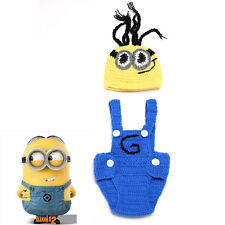 Crochet Newborn Baby Minions Photography Props Knitted Baby Boy Cartoon Outfits