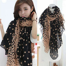Women Fashion Pretty Long Soft Chiffon Polka Dot Scarf Wrap Shawl Stole Scarves