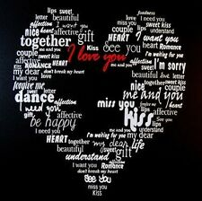 Large Love Heart Words Hanging Canvas Wall Art Picture on Wooden Frame 50 x 50cm