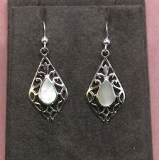 Sterling silver dangle earrings Mother Of Pearl insets hook style 925 sterling
