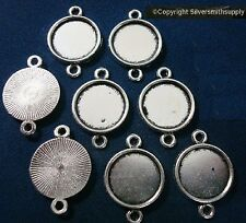 8 Plain Bezel cups tray Silver pl 14mm cabochon pendant setting 2 loops fpe174