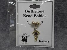 February Baby Birthstone Bead Babies Necklace Pendant Gold Tone Triangle Body