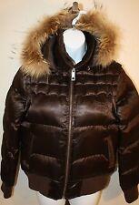 Ecko Red Ladies Juniors Brown Winter Puffer Convertible Vest Jacket Coat Sz L
