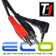 T1 Audio J2RCA 1.2 Metre Approx 3.5mm Jack Plug to 2 x RCA Aux Stereo Lead