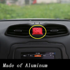 Red Aluminum Car Central Air Outlet Vents Cover Trims For Jeep Renegade 2015-16