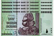 4X 50 TRILLION ZIMBABWE DOLLAR Uncirculated, MONEY CURRENCY. * 10 20 100 *