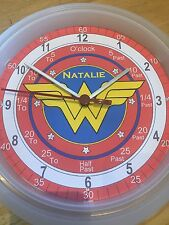 Wonder Woman Teaching Wall Clock. Learn Tell Time Personalised xmas Gift Girls