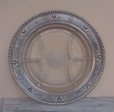 """Vintage Wallace 4063 9 Sterling Silver & Etched Crystal 14"""" Divided Platter Tray"""