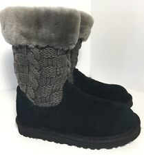 New Kids UGG Australia Black & Grey Juniper Cardy Knit  Suede Boots SIZE 2 UGGS