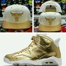 Mitchell Ness & NBA Chicago Bulls White Gold snapback Hat for Jordan 6 Pinnacle