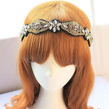 Pretty Graceful Women Rhinestone Beads Headband Elastic Hairband Hair Accessary