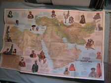VINTAGE MIDDLE EAST CULTURAL MAP PEOPLES National Geographic July 1972 MINT