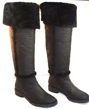 "DIANE VON FURSTENBERG ""ADELE"" Black Shearling Leather Boots 9 NEIMAN MARCUS $675"