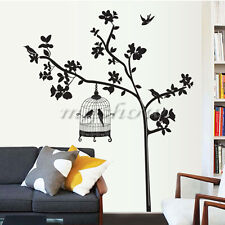 Tree & Bird Cage Removable Vinyl Decal Art Mural Home Decor Room Wall Sticker