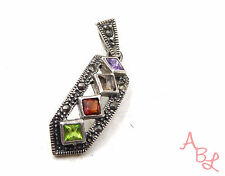 Sterling Silver Vintage 925 Dangle Peridot Amethyst Charm Pendant (3.2g) 553207