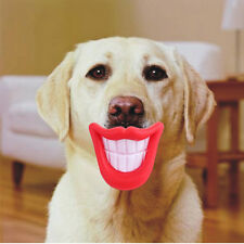 Funny LOL Teeth Small Dog Pug Pet Chew Toys Activity Training Squealer Red Lips
