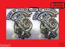 "[2]  FEAR THE GRIM REAPER  ""SONS OF ANARCHY""  SEW OR IRON-ON  SOA  BIKER PATCHES"