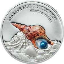 Palau 2016 $5 Marine Life Miracle of the Sea 1 Oz Silver Coin with Real Pearl