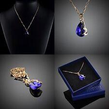 Halskette Tropfe Kristall Anhänger Vergoldet Geschenk Etui Original Design #067