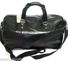NEW FOSSIL BLACK LEATHER+CANVAS TRANSIT DUFFLE BAG,TRAVEL LUGGAGE,CROSS BODY