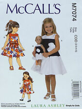 "McCall's 7074 PATTERN fits Girl's 2-5 & 18"" American Girl DOLL CLOTHES Dress NEW"