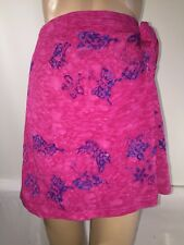 Butterfly Sarong Hot Pink Purple Short Sexy Rayon Casual Beach Skirt - XS