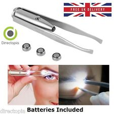 LED Light Up Tweezers Eye Brow Stainless Steel Multi Purpose Tool