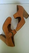Seychelles Brown Leather Mary Jane Heels Shoes Anthropologie Brown Strap Size 8M